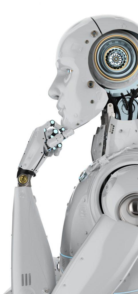 nachdenklicher humanuider Roboter
